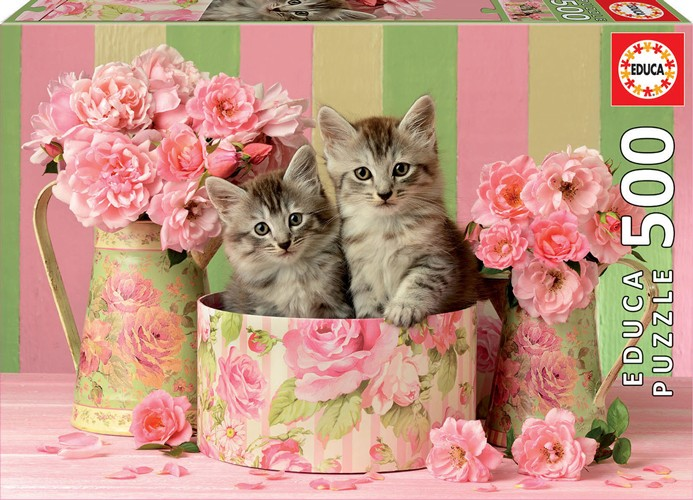 Kittens with Roses 500 Teile